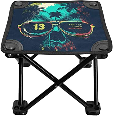 INTERESTPRINT Portable Camping Folding Stool for Picnic Beach BBQ Outdoor Activities Vintage Roses, Tulips and Forget-Me-Nots