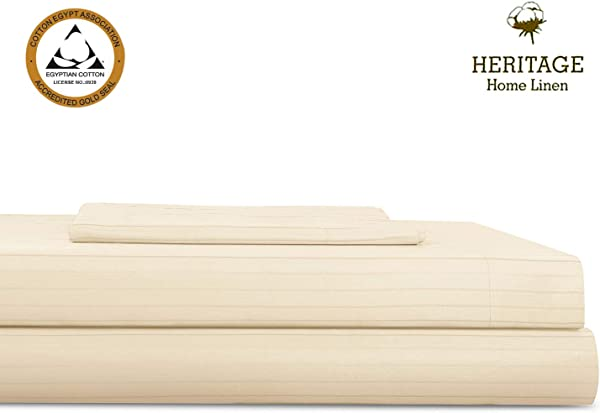 Heritage Home Linen Bed Sheet Set 3 Piece Set Egyptian Cotton Blend 800 Thread Count Twin XL Pinstripes Sateen Weave Deep Pockets Upto 18 Inch Fit Wrinkle Fade Stain Resistant Twin XL Taupe Stripe