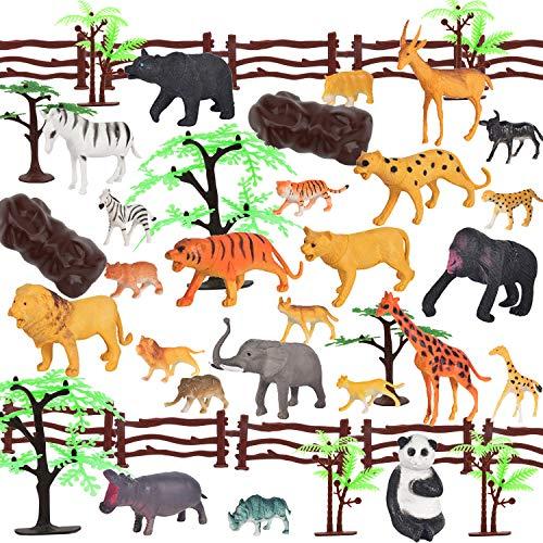 OOTSR Dschungel Tierfiguren Szene Set, 44 Stück Kunststoff Safari Tierspielzeug für Jungen Mädchen/Geschenktüte/Party Favors, gehören breite Tiere (12 Arten), Zäune, Bäume, Felsen