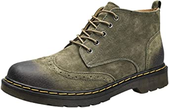 Gradient Color System Bandwidth Foot Round Toe Pu Leather Retro Men's British Style Casual Boots High-Top Non-Slip Wear Resistant Tooling Daily Work Shoes