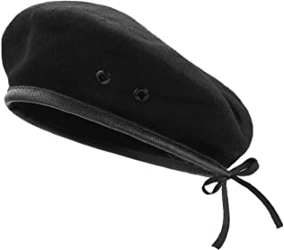 AYPOW Wool Berets, Mens Ladies Military Army Style Berets with Leather Trim - Adjustable, One Size Fits Most