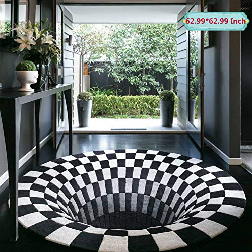 3D Area Rug Floor Mat Round Carpet 3D Visual Illusion Shaggy Rug for Lvining Bedroom,Black White Plaid Round Rugs 3D Visual Vortex Optical Illusions Anti-Slip Floor Mat for Dinning Room (160x160cm)