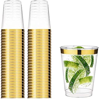 50 Transparent Cups with Rose Gold Rim, 12oz Recyclable Clear Drinking Tumblers, for Wedding Party Birthday Dinner Occasions