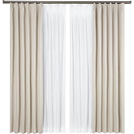Bedsure遮光カーテン4枚セット防音遮熱一級遮光断熱遮音 ベージュ 目隠しかーてん幅100cm×丈178cmしゃこうしゃねつ カーテンセット