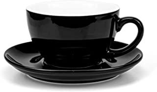 Yesland 10 Oz Coffee Cup and Saucer, Ceramic Glossy Black Cappuccino Cups with Saucers for Coffee Shop and Barista, Perfect for Specialty Coffee Drinks, Latte, Cafe Mocha and Tea