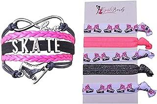 Figure Skating Gift Set, Skating Jewelry- Figure Skating Bracelet & Hair Ties - Perfect Figure Skating Gifts