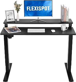 FLEXISPOT 電動式二段昇降デスク EF1-2Tier(幅120×奥行60,メモリー機能付き,後部天板調整可能) ラック付き 二段パソコンデスク 高さ調節デスク 人間工学 ゲーミングデスク (足(黒)+天板(黒))
