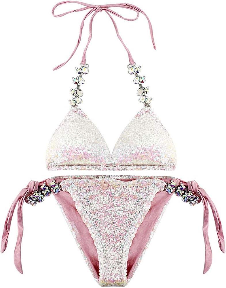 Monique Women Glitter Rhinestone Sequins Polyester 2 PCS Bikini Set Tankini Tie Bra Swimsuit