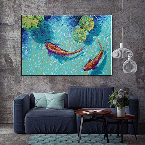Koi Fish Lotus Lienzo impresión Feng Shui Animal Paisaje Pintura Sala Arte Pared decoración del hogar Pintura 50x70cm