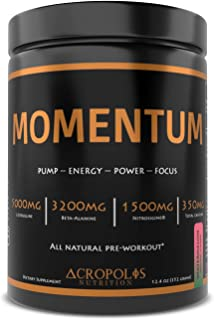 Sponsored Ad - Momentum - Pre Workout Powder by Acropolis Nutrition, All Natural, Nitric Oxide, Clean Focused Energy, Stre...