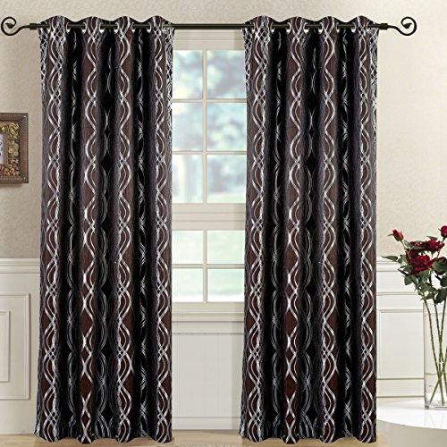 Royal Bedding Regalia Chocolate Panels, Top Grommet Abstract Jacquard Textured Window Curtain Panel, Set of 2 Panels, 52x96 Inches Each