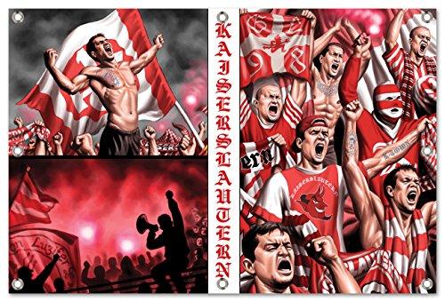 Ultras-Art KaiserslauternCollage Bild auf PVC Plane/PVC Banner inkl Ösen, Maße: 120x80 cm