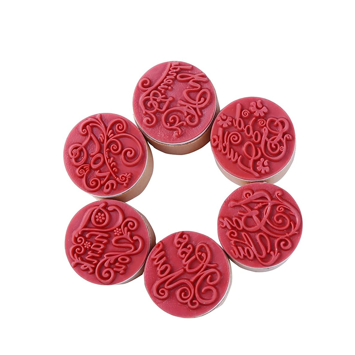 DECORA 6pcs Greeting Round Wooden Rubber Stamp(Miss you/For you/Thank you/Love/My Friend/Good Luck)