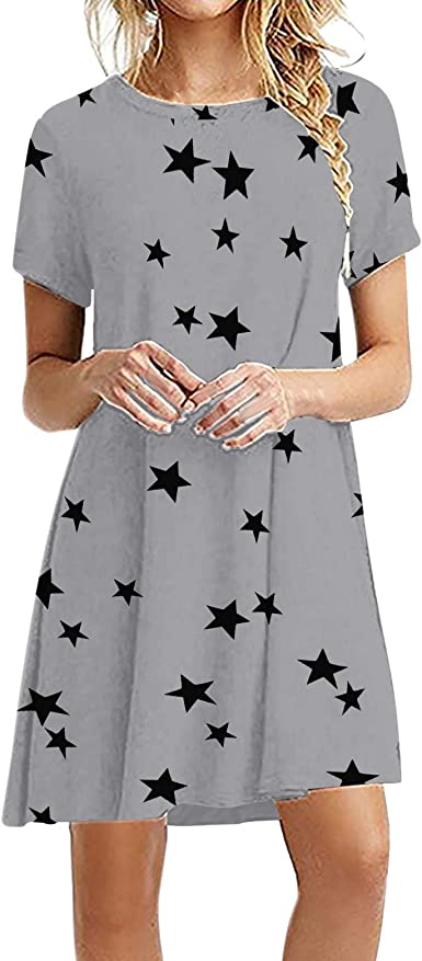 ORT Dresses for Women, Women's Summer Floral Printed Casual T Shirt Dresses Short Sleeve Swing Dress with Pockets