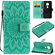 Moto G7 Case, KKEIKO Moto G7 Flip Leather Wallet Case Notebook Style, Sun Flower Design Shockproof Cover for Moto G7 - Green