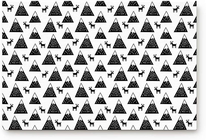Life808 Office Floor Mats Front Doormats Non-Slip Bedroom Home Kitchen Rug, Fresh Reindeer and Geometric Christmas Trees Arrangement Image 20 by 31.5-Inch