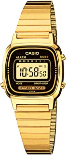 Casio Women'S Yellow Dial Stainless Steel Band Watch La670Wga 1D, Quartz, Digital