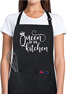 Xornis 100% Cotton Funny Aprons for Women Queen of The Kitchen with 2 Pockets Chef Cooking Baking Adjustable Bib Apron Gif...