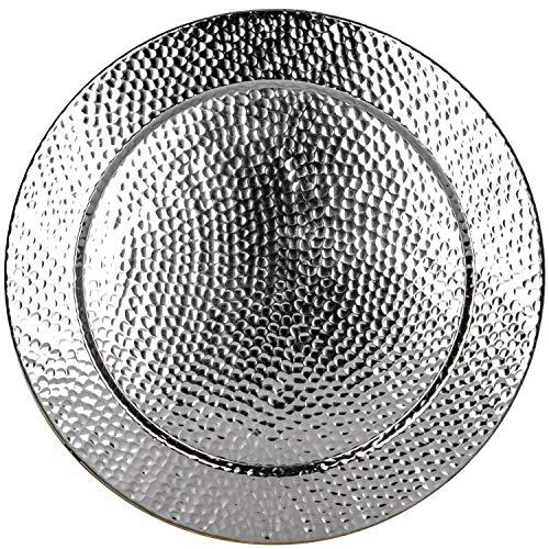 Großes Rundes Tablett aus Metall Nizza Silber 60cm groß | Design Silbertablett Silberfarbig | Serviertablett Rund Rutschfest | als Dekoration auf dem gedeckten Tisch oder Wanddeko im Wohnzimmer