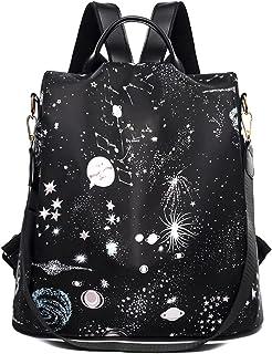 Findkey Damen Anti Diebstahl Rucksack Handtasche Umhängetasche Schultertasche,Star,34x14x30cm