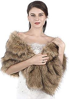 Aukmla Women's 1920s Brown Faux Fur Shawl Bridal Wedding Fur Wraps and Shawls Faux Mink Shawl for Bridesmaids (Brown)