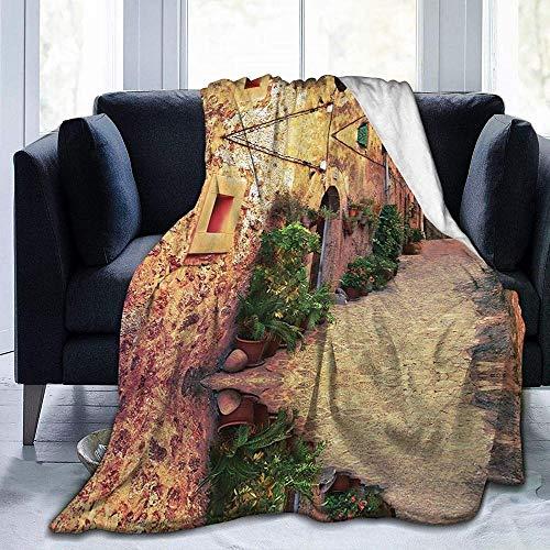 DWgatan Couverture,Street in Village Mallorca Couverture en Peluche en Microfibre imprimée pour Chambre à Coucher Salon Canapé-lit pour Enfants Adultes -80\