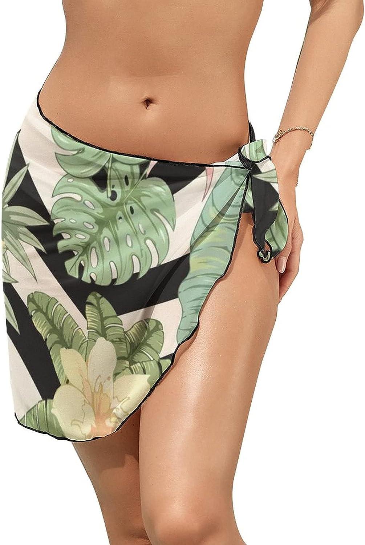 Women Chiffon Scarf Short Beach Sarong Cover Up Coconut Palm Tree Swimsuit Cover Ups Wrap Skirt Ruffle Bikini Swimwear