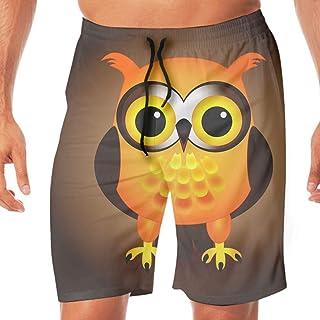 サーフパンツ メンズ Cartoon Orange Owl 海水パンツ 海パン 学校用 水着 海外旅行 リゾート