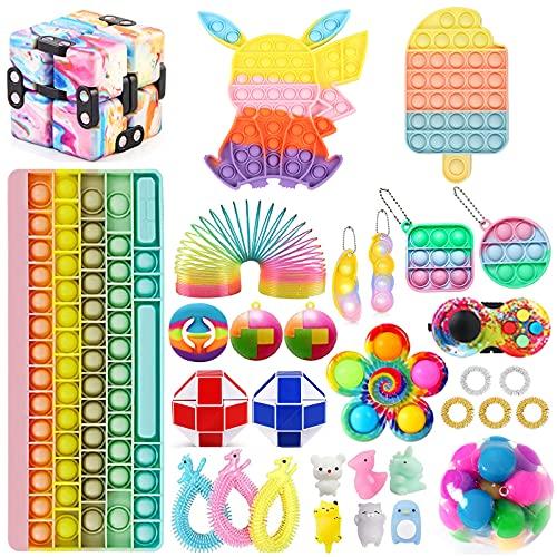 Fidget Toy Set, Fidget Pack, Fidget Spinner Push Bubble Pop Toys, Sensory Stress Relief Toys Fidget Kit Pop Toy Pack Anxiety Toys for ADHD(Fidget Toy-3)