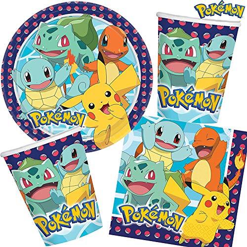 33-teiliges Party-Set * Pokemon * für Kindergeburtstag mit 8 Kinder: Teller + Becher + Servietten + Deko | Luftballons Dekoration Kinder Geburtstag Motto Party