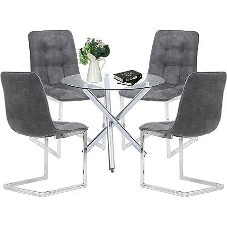 Ensemble de Salle à Manger Moderne avec Table Ronde en Verre et 4 chaises Shepping pour Salle à Manger, Cuisine, Salon (Table Ronde + Quatre chaises) (Round Table + Four Chairs)