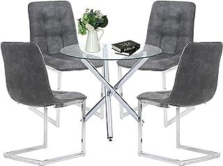 Ensemble de Salle à Manger Moderne avec Table Ronde en Verre et 4 chaises Shepping pour Salle à Manger, Cuisine, Salon (Ta...