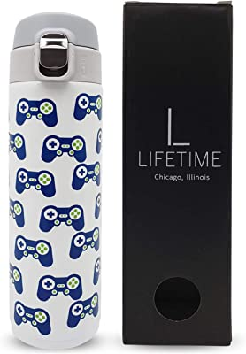 Kids Water Bottle Stainless Steel, Boys Girls Teens Tweens Adults Cold Hot Leak-Proof Lock Lid No Straw Insulated Dishwasher Safe (Video Game)