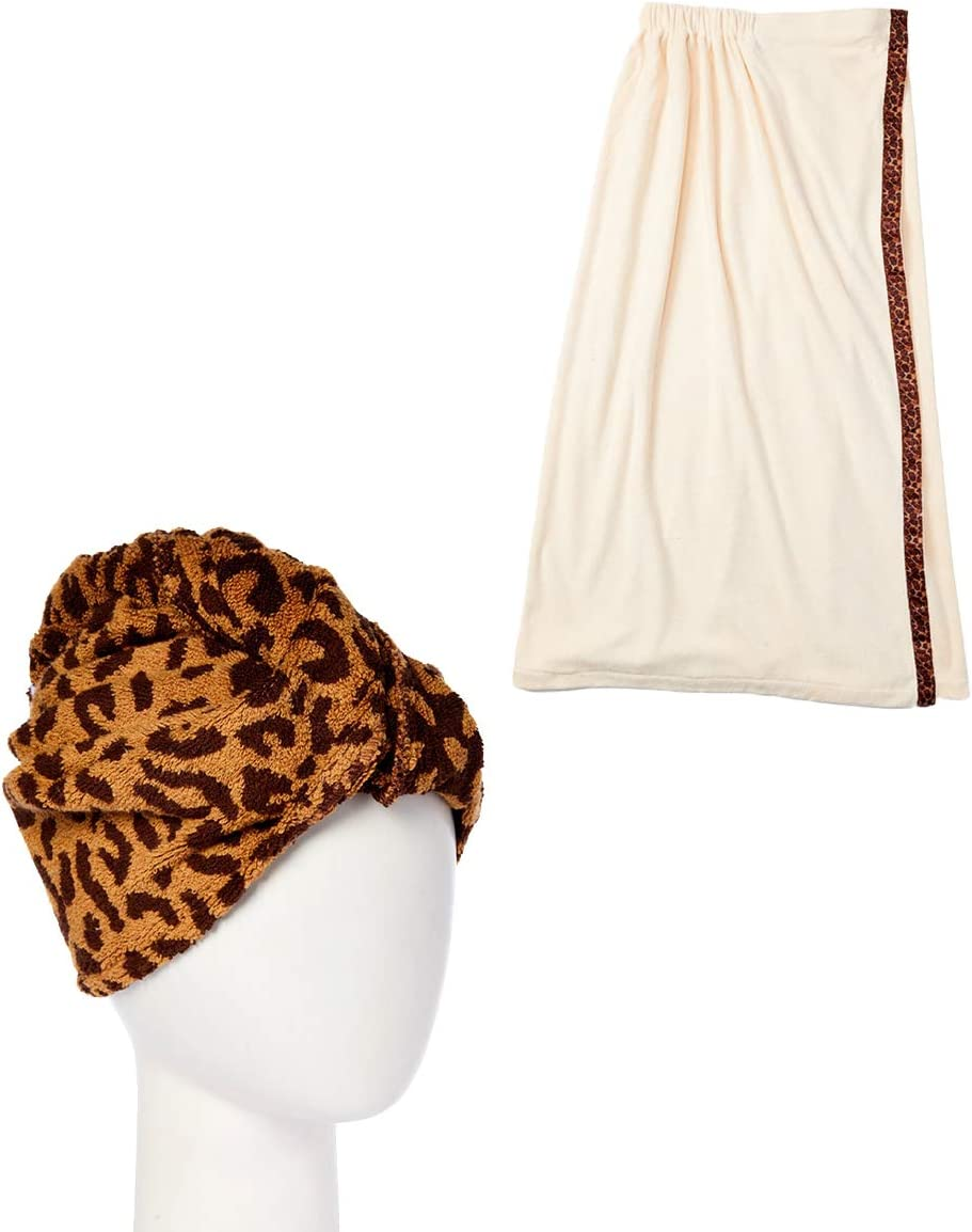 Turbie Twist 日本メーカー新品 訳あり Cotton Hair Towel Pack Wrap Combo Leopard Bath