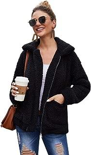 Women Fuzzy Sherpa Jacket Winter Casual Warm Fluffy Shearling Fleece Coat Oversized Zipper Faux Shaggy Jackets Outwear