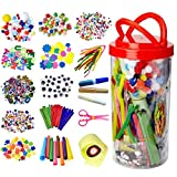 Mega Kids Art Supplies Jar – Over 1,000 Pieces of Colorful and Creative Arts and Crafts Materials - Glue, Safety Scissors, Pompoms, Popsicle Sticks, Pipe Cleaners and Loads More - The Original Art Jar