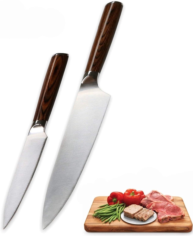 Cuchillo de cocina Cuchillo de cuchillo de 2 piezas CHEF UTILITY CUCHILLO MOLYBDENUM VANADIO ACERO ALEMÁN DIN1.4116 CUCHILLOS DE CUCHILLA HERRAMIENTAS PROFESIONALES DE ALTA CUCHILLO PARA COCINAR Afila