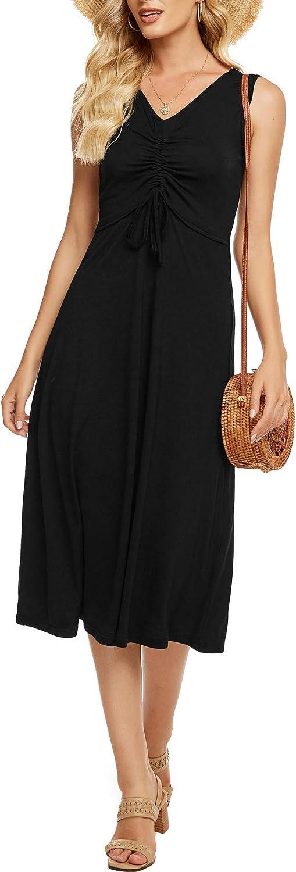 Berydress Women's Casual Beach Summer Dresses Drawstring V-Neck Sleeveless Solid Cotton Boho Black Midi Sun Dresses