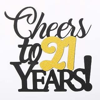 LVEUD Happy Birthday Cake Topper Black Font Golden Numbers Cheers to 21 Years Happy Birthday Cake Topper -Wedding,Anniversary,Birthday Party Decorations (21th)