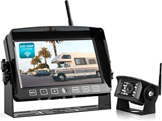 """$119 » Fookoo 1080P Wireless Backup Camera System with Recording, 7"""" HD Split Screen Monitor with Touch Button IP69 Waterproof Re..."""
