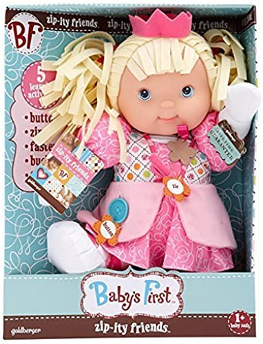 Baby's First Zip-Ity Friends Princess Button Zip Fasten Buckle Tie Learning Toy by Goldberger