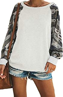 FSSE Women's Top Long Sleeve Waffler Blouse Camouflage Print Autumn Pullover Sweatshirt