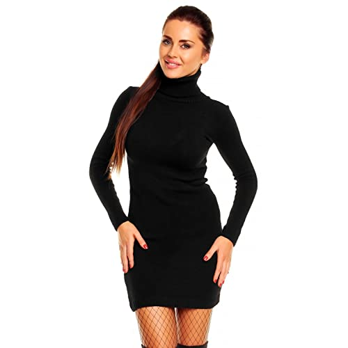 Ladies Womens Cable Knitted Long Sleeve Polo Roll Neck Body-Con Jumper Dress