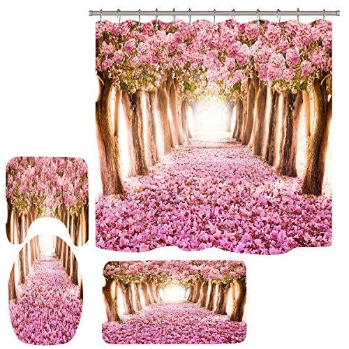 Qinqin666 Hohe Qualität Blumen-Schmetterlings-Badezimmer-wasserdichter Duschvorhang Badezimmermatten (Color : Cherry Blossom Forest, Size : 165x180cm)