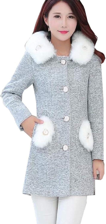 Generic Womens Winter FauxFur Collar Pea Coat Belted Woolen Trench Coats Jacket