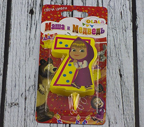 ?andle on a Cake Topper 7 Years Masha and the Bear Must Have Accessories for the Party supplies and Birthday Masha y el Oso para niños