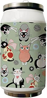 Joyshopping Cats Play Double Layer Vacuum-Insulated Stainless Steel Water Bottle, 500 ml