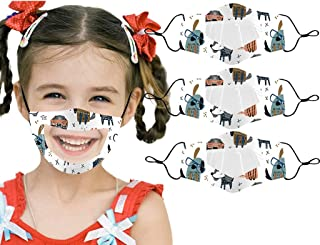 3 PCS Kids Reusable and Transparent Face Bandanas,with Cute Anime Animals Printed, Indoors and Outdoors,Dust Proof for Kids Student (Size:7.9x4.3''/20x11cm, 3 PCS-clear-E)