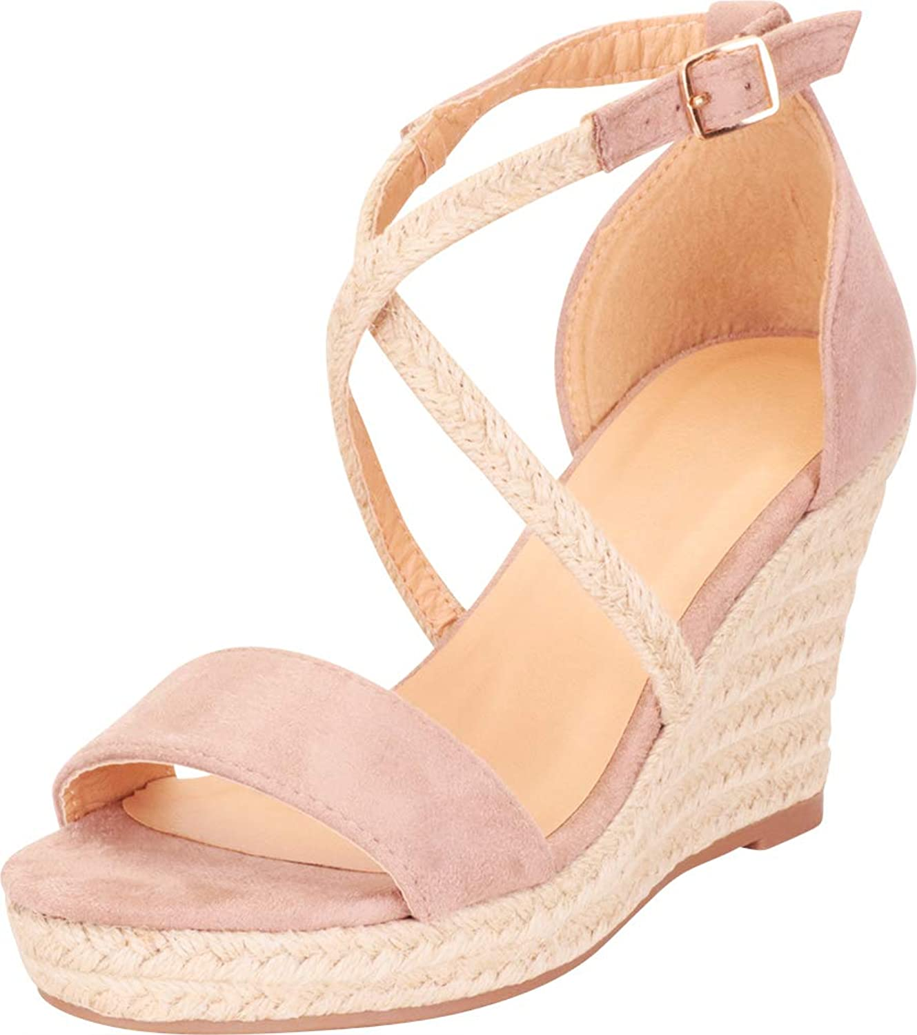 Cambridge Select Women's Crisscross Strappy Espadrille Chunky Platform Wedge Sandal