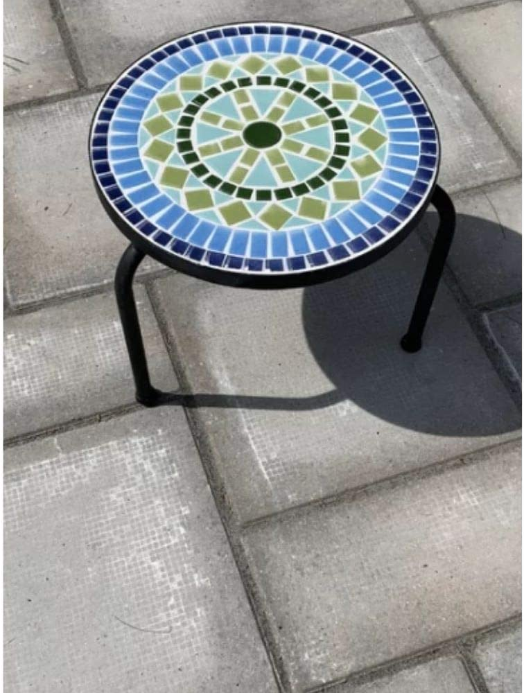 Patio Ceramic Tile Side Table Plant Mail order cheap Max 81% OFF Concrete Stand Τripod Stone